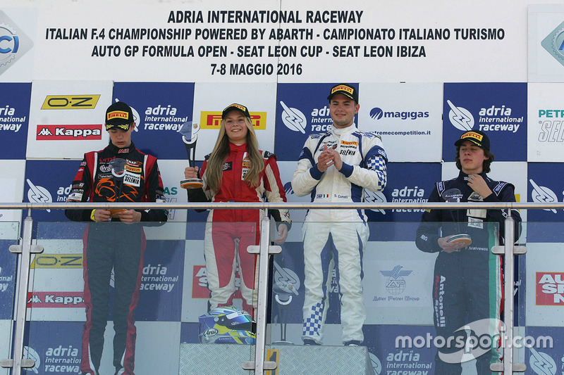 Race 1 rookie podium: Simone Cunati, Vincenzo Sospiri Racing, Richard Verschoor, Bhaitech Engineering, Federico Malvestiti, Antonelli Motorsport and Fabienne Wohlwend, Aragon Racing