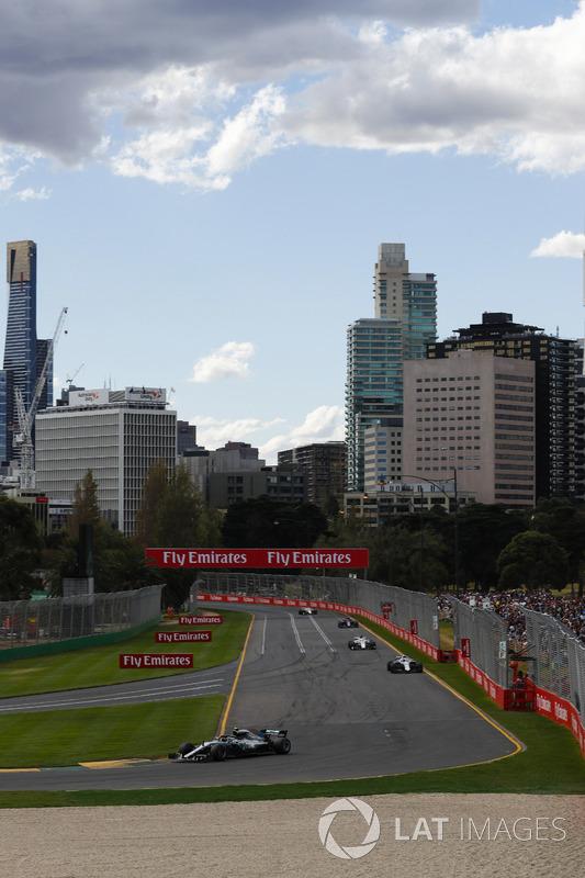 Valtteri Bottas, Mercedes AMG F1 W09, Lance Stroll, Williams FW41 Mercedes, Marcus Ericsson, Sauber C37 Ferrari, and Pierre Gasly, Toro Rosso STR13 Honda