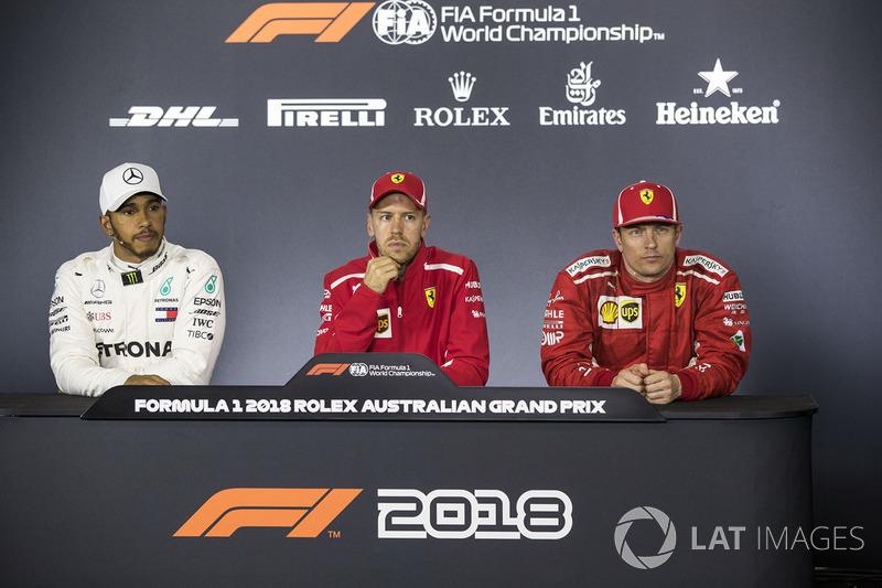 Lewis Hamilton, Mercedes-AMG F1, Sebastian Vettel, Ferrari and Kimi Raikkonen, Ferrari in the Press