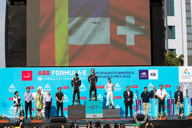 Jean-Eric Vergne, Techeetah, Andre Lotterer, Techeetah make up the first 1st 2nd finish in Formula E history with Sébastien Buemi, Renault e.Dams, in 3rd