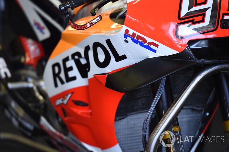 Wings on the bike of Marc Marquez, Repsol Honda Team