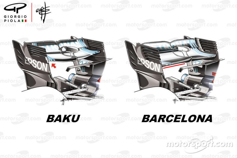 Mercedes F1 W09 achtervleugel GP Azerbeidzjan en Spaanse GP