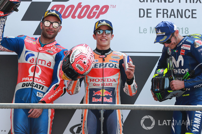 Race winner Marc Marquez, Repsol Honda Team, second place Danilo Petrucci, Pramac Racing, third place Valentino Rossi, Yamaha Factory Racing