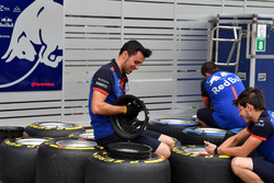 Scuderia Toro Rosso mechanics and Pirelli tyres