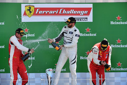 Mark Fuller, Scuderia Corsa - Ferrari Westlake, Michael Fassbender, Ferrari North America and James Weiland, Boardwalk Ferrari celebrate on the podium