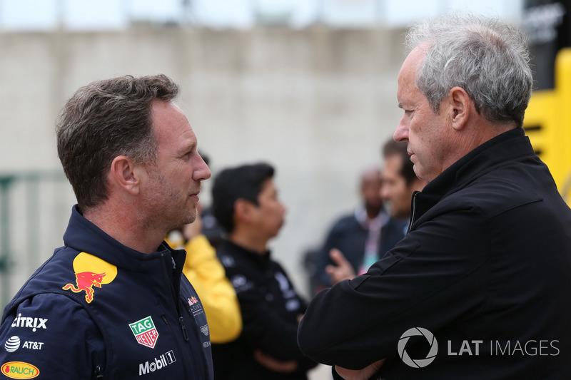 Christian Horner, Red Bull Racing Team director y Jerome Stoll, Director de Renault Sport F1