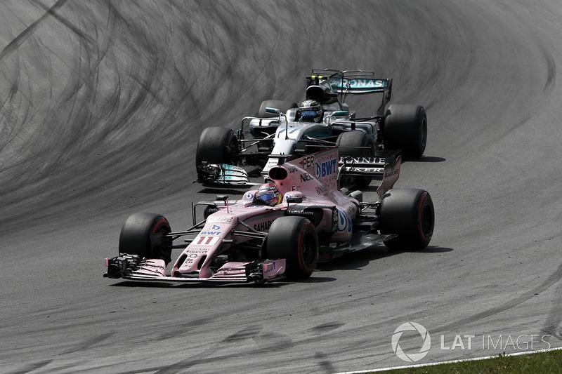 Серхіо Перес, Sahara Force India VJM10, Валттері Боттас, Mercedes AMG F1 F1 W08