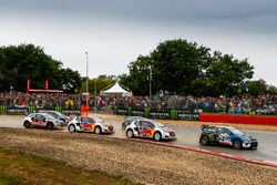 Johan Kristoffersson, PSRX Volkswagen Sweden, VW Polo GTi, Timmy Hansen, Team Peugeot-Hansen, Peugeot 208 WRX, Sebastien Loeb, Team Peugeot-Hansen, Peugeot 208 WRX