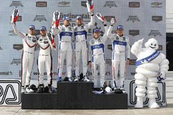 GTLM podium: winners Dirk Müller, Joey Hand, Chip Ganassi Racing Ford, second place Gianmaria Bruni, Laurens Vanthoor, Porsche Team North America, third place Ryan Briscoe, Richard Westbrook, Chip Ganassi Racing Ford