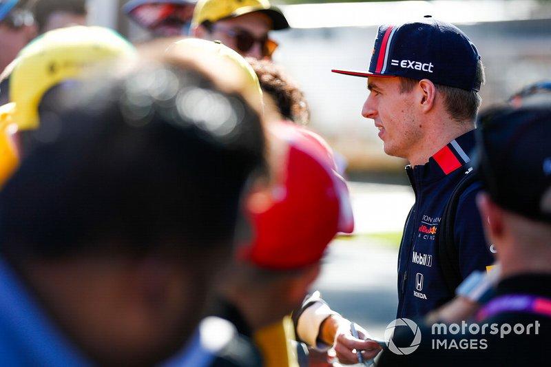 Max Verstappen, Red Bull Racing, talking to fans