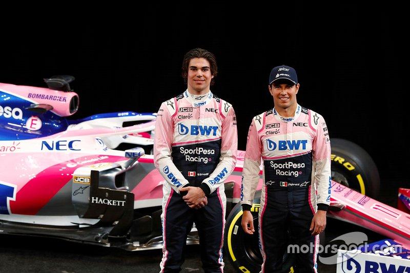 Lance Stroll, Racing Point F1 Team e Sergio Perez, Racing Point F1 Team, con la RP19 del Team Racing Point F1