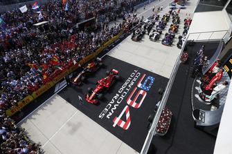 Podio: tercer lugar Lewis Hamilton, Mercedes AMG F1, ganador de la carrera, Kimi Raikkonen, Ferrari y segundo lugar Max Verstappen, Red Bull Racing