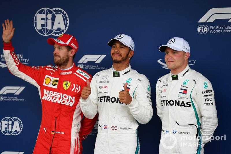 Sebastian Vettel, Ferrari, Lewis Hamilton, Mercedes AMG F1 y Valtteri Bottas, Mercedes AMG F1 en Parc Ferme