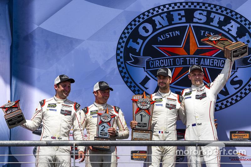 GTLM Podium: first place #912 Porsche Team North America Porsche 911 RSR: Earl Bamber, Frédéric Makowiecki, second place #911 Porsche Team North America Porsche 911 RSR: Nick Tandy, Patrick Pilet