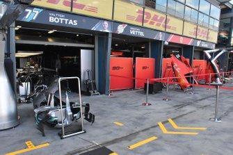 Mercedes AMG F1 and Ferrari garage atmosphere
