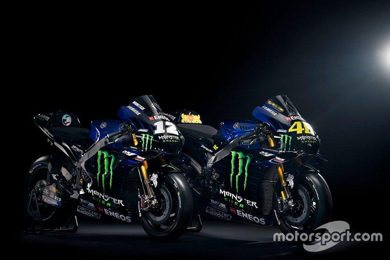 Bikes von Maverick Vinales, Yamaha Factory Racing, und Valentino Rossi, Yamaha Factory Racing, für die MotoGP-Saison 2019