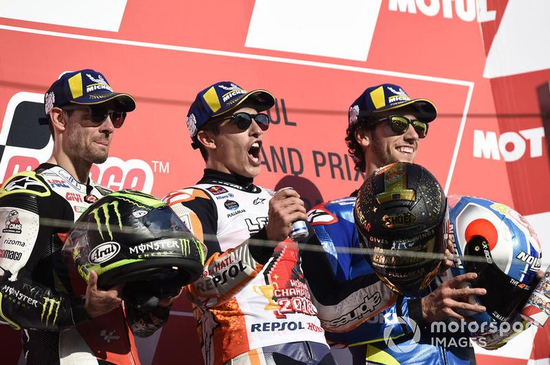 Podio: Marc Marquez, Repsol Honda Team, Cal Crutchlow, Team LCR Honda, Alex Rins, Team Suzuki MotoGP