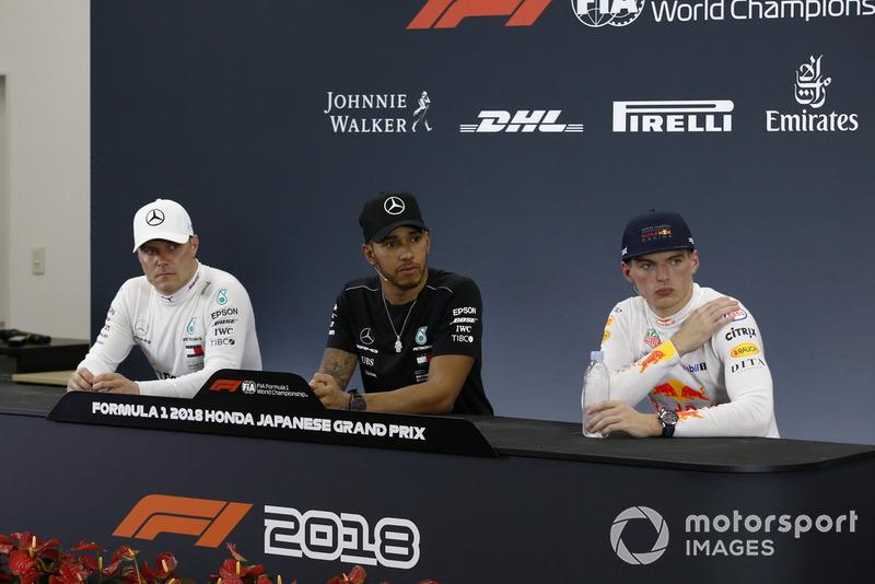 Após a corrida, os vencedores foram para a coletiva de imprensa.