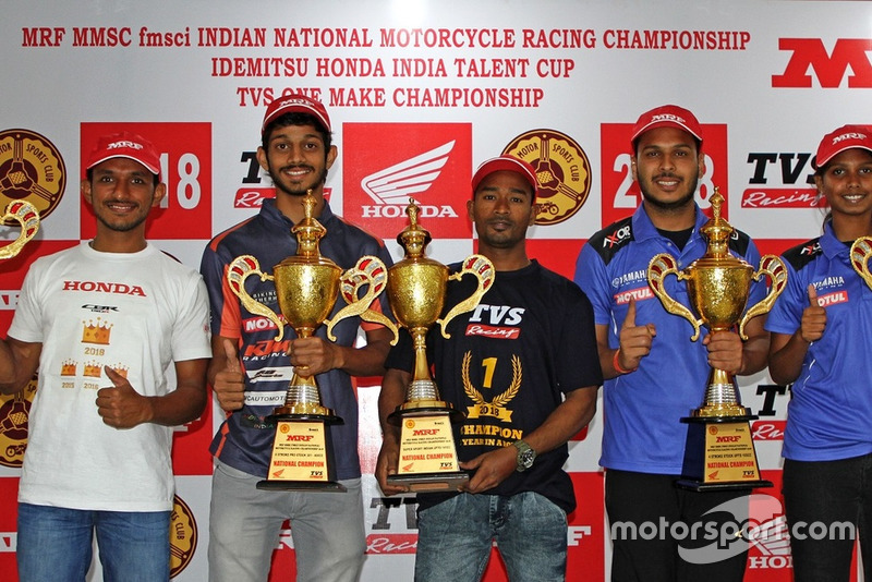 National Champions: Anish Shetty (Pro-Stock 165cc), Satyanarayana Raju (Pro-Stock 301-400cc), Jagan Kumar (Super Sport 165cc), Karthik Mateti (Stock 165cc) and Ann Jennifer (Girls)