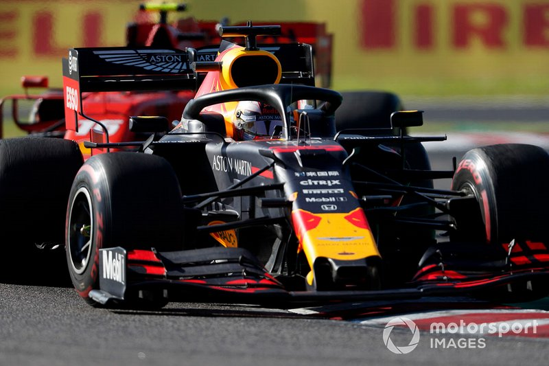 Max Verstappen, Red Bull Racing RB15, leads Charles Leclerc, Ferrari SF90
