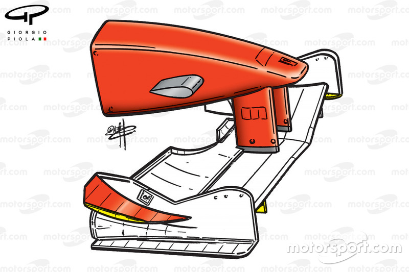 Ferrari F399 front wing changes highlighted in yellow