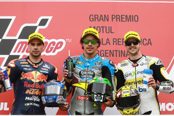 Podium: second place Miguel Oliveira, Red Bull KTM Ajo, race winner Franco Morbidelli, Marc VDS, third place Thomas Luthi, CarXpert Interwetten
