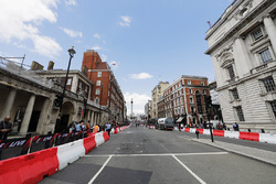 Preparations in Whitehall up to Trafalgar Square ahead of the F1 Live street demonstration parade