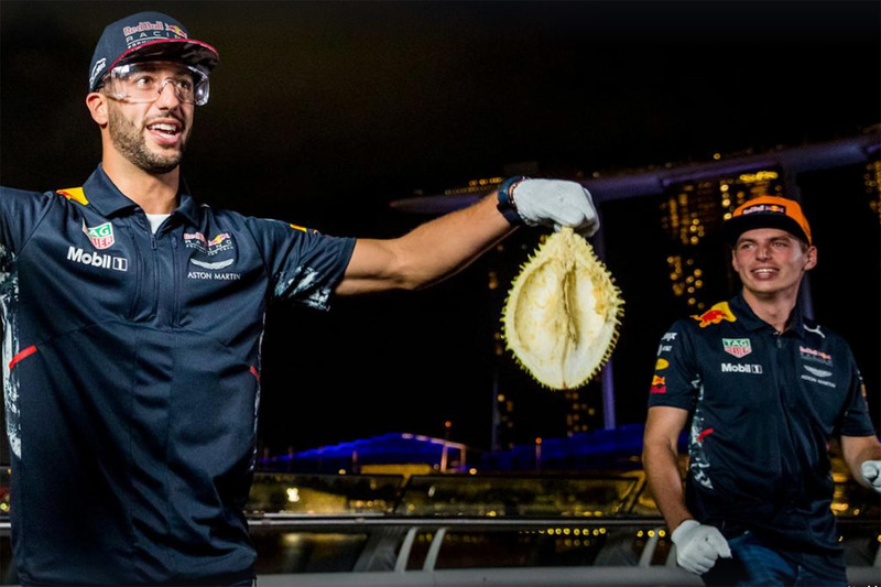 Daniel Ricciardo, Red Bull Racing, Max Verstappen, Red Bull Racing with durian fruit