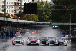 Start action, Sebastien Loeb, Team Peugeot-Hansen, Peugeot 208 WRX leads