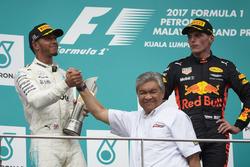 second place Lewis Hamilton, Mercedes AMG F1 on the podium