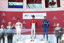 Podium: race winner Charles Leclerc, PREMA Powerteam, second place Nyck De Vries, Rapax, third place Nicholas Latifi, DAMS