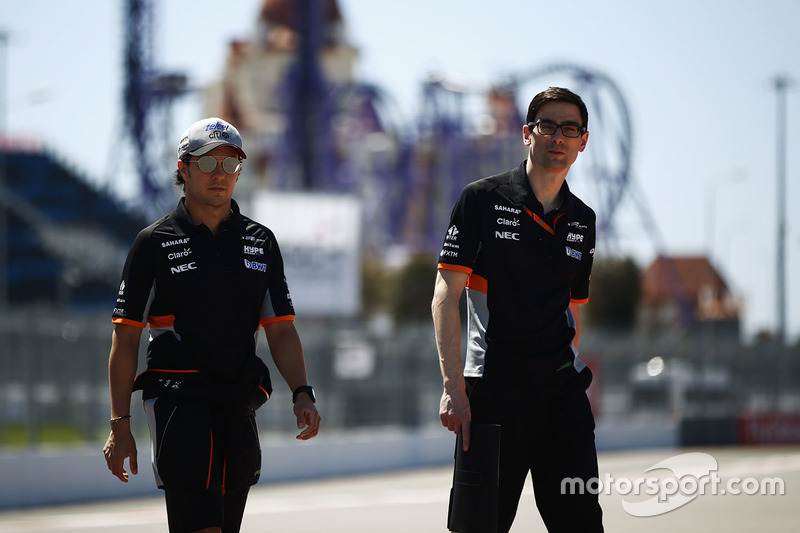 Sergio Perez, Force India, on a track walk