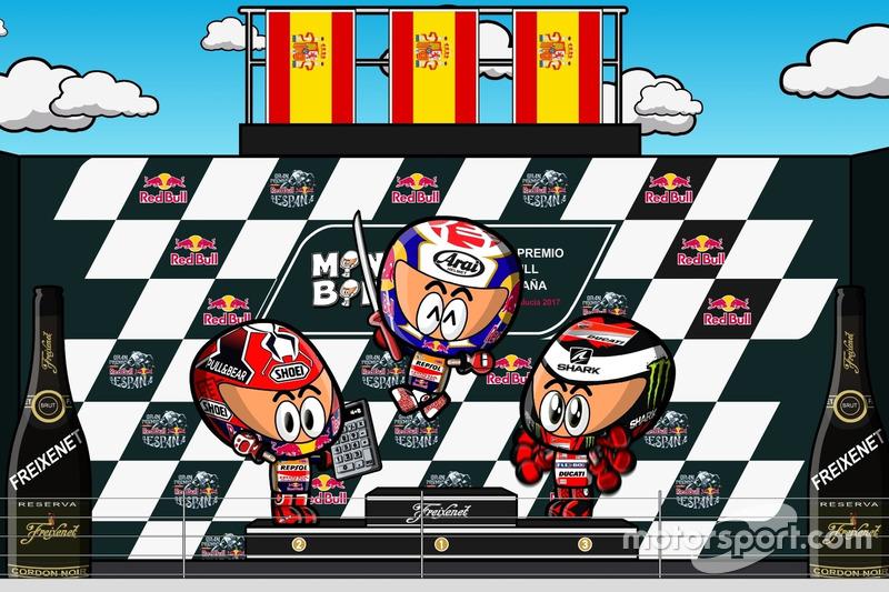 Podium MotoGP Spanyol 2017 a la 'MiniBikers'