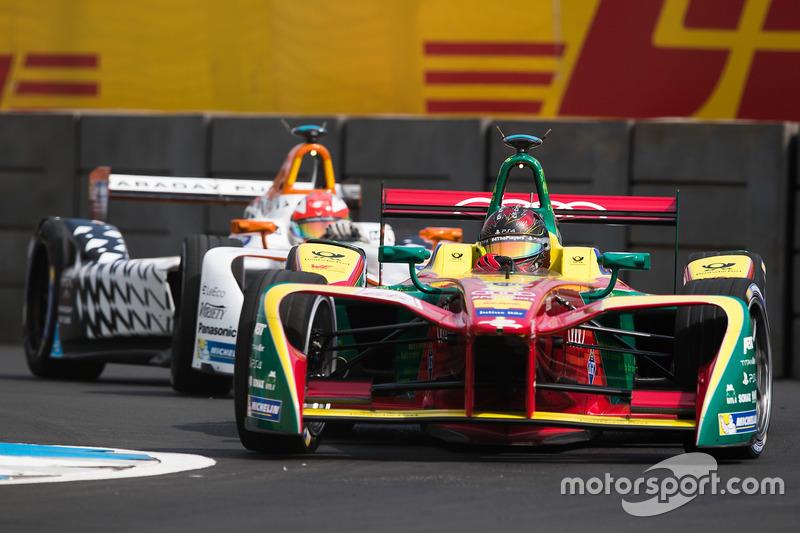 Daniel Abt, ABT Schaeffler Audi Sport, leads Loic Duval, Dragon Racing
