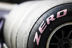 Pink side-walled Pirelli hyper soft tyre detail