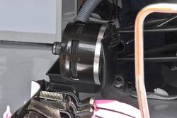 Vue détaillée d'un frein avant de la Force India VJM11