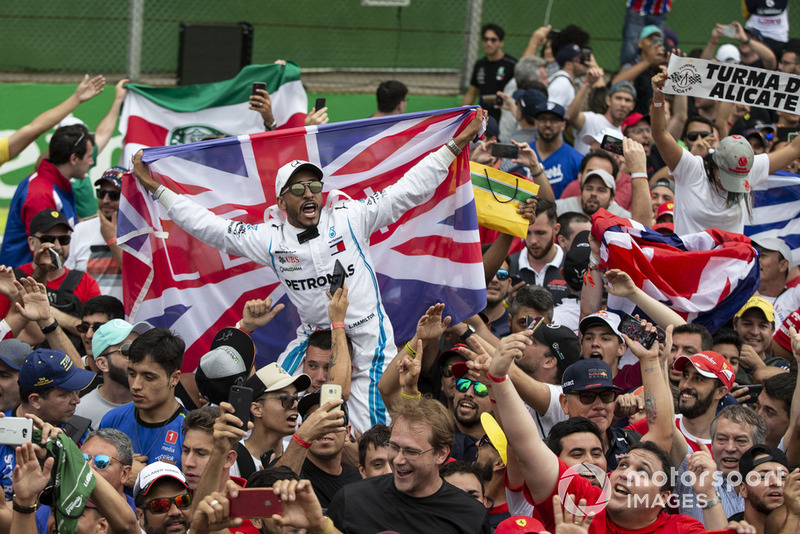 Lewis Hamilton, Mercedes AMG F1 fan and Union flag and fans celebrate