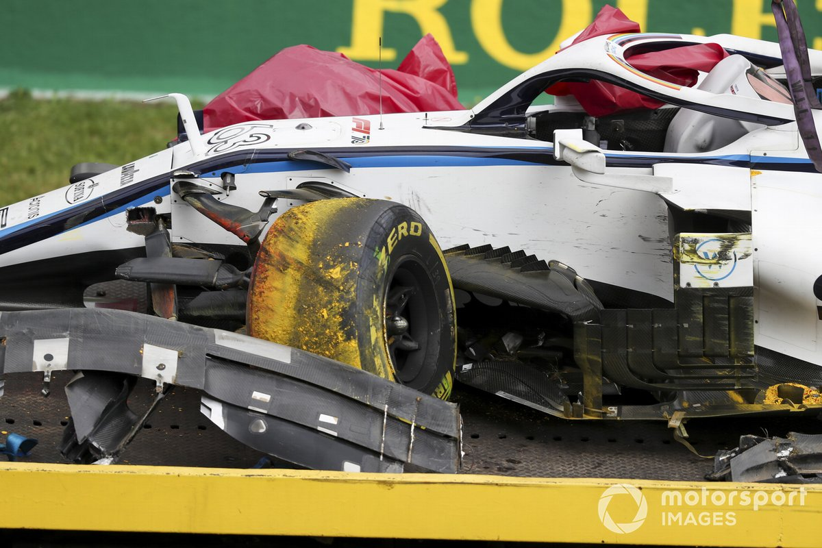 The damaged car of George Russell, Williams FW43, on a truck
