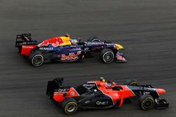 Sebastian Vettel, Red Bull Racing RB8 passes Charles Pic, Marussia F1 Team MR01