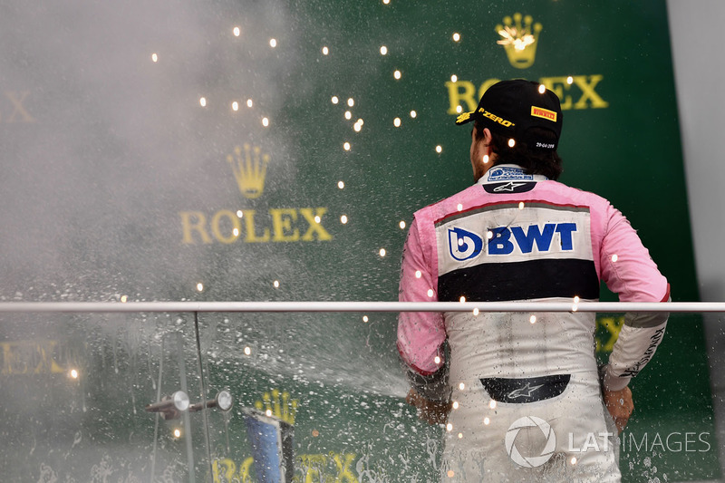 Tercero, Sergio Perez, Force India celebra