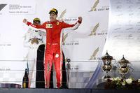 Sebastian Vettel, Ferrari, 1st position, arrives on the podium