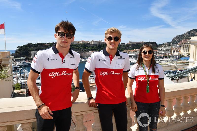 Charles Leclerc, Sauber, Marcus Ericsson, Sauber y Tatiana Calderon, Sauber