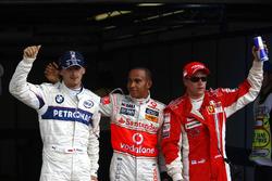 Роберт Кубица, BMW Sauber F1.08, Льюис Хэмилтон, McLaren MP4-23 и Кими Райкконен, Ferrari F2008