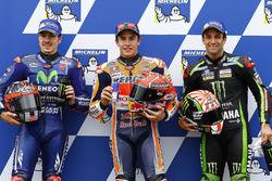 Polesitter Marc Marquez, Repsol Honda Team, tweede plaats Maverick Viñales, Yamaha Factory Racing, derde plaats Johann Zarco, Monster Yamaha Tech 3