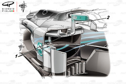 Mercedes AMG F1 W09 side pods with numbers