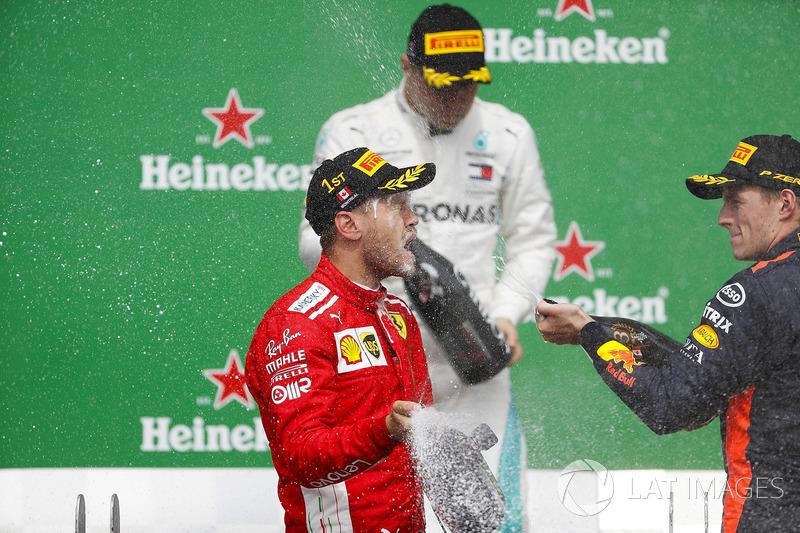 Max Verstappen, Red Bull Racing, 3rd position, sprays Sebastian Vettel, Ferrari, 1st position, with