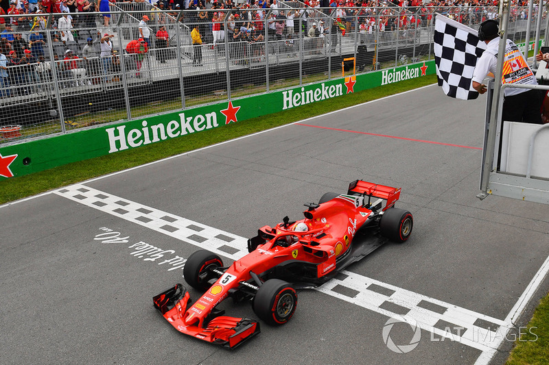 Sebastian Vettel, Ferrari SF71H takes the win