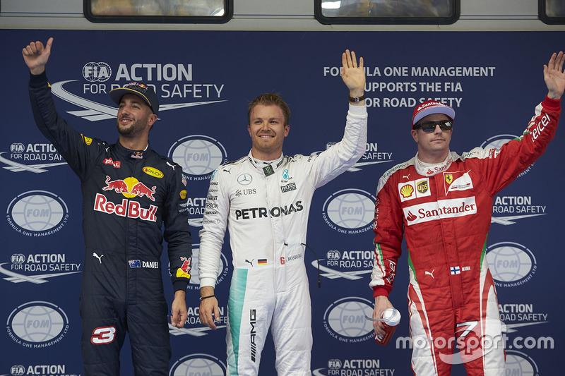 Polesitter Nico Rosberg, 2. Daniel Ricciardo, 3. Kimi Räikkönen