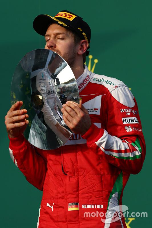 Podium: derde plaats Sebastian Vettel, Ferrari