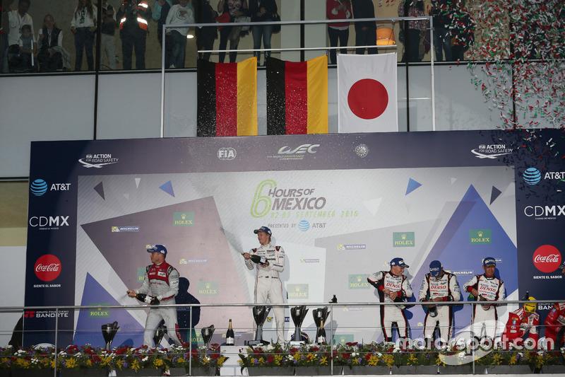 The podium (L to R): Andre Lotterer, #07 Audi Sport Team Joest Audi R18; Brendon Hartley, #01 Porsche Team Porsche 919 Hybrid;  Mike Conway, Stephane Sarrazin, Kamui Kobayashi, #06 Toyota Gazoo Racing Toyota TS050 Hybrid